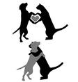 Cat dog love vector
