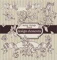Set of vintage magic fairytale floral design vector