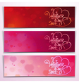Three valentine 2014 banners red pink vector