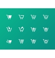 Shopping cart icons on green background vector