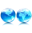 Glossy earth map globes vector