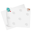 Empty stationery with animal footprints vector