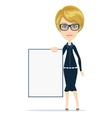 Cartoon teacher or businesswoman explaining and vector
