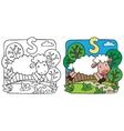 Little sheep coloring book alphabet s vector