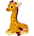 Giraffe calf with bow vector
