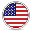 American flag button isolated on white vector