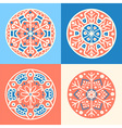Set of four decorative round patterned elements vector