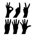 Numbers hand signs set detailed black and white vector