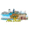 Abu dhabi doodles vector