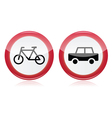 Car and bike icons road signs vector