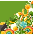 Saint patricks day greeting card with stickers vector