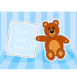 Teddy bear with blank sign in blue room vector