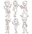 Simple sketches of doctors vector