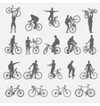 Silhouettes of cyclists and bicycles vector