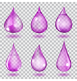 Transparent violet drops vector