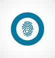 Fingerprint bold blue border circle icon vector