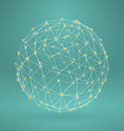 Wireframe polygonal element 3d sphere with vector