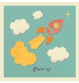 Retro concept with rocket for new business project vector