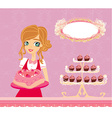 Beautiful saleswoman in a bakery vector