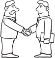 Black and white business men shaking hands vector