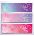 Three valentine banners purple pink vector