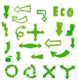 Handpaint watercolor green arrow vector