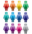 Colorful woman symbols vector