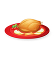 Chicken flesh in a dish vector