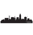 Lincoln nebraska skyline detailed silhouette vector