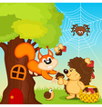 Hedgehog gives squirrel mushroom vector