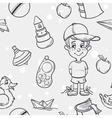 Seamless texture of childrens toys for the boy in vector