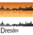 Dresden skyline in orange background vector