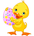 Easter duckling carrying egg vector