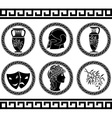 Hellenic buttons stencil fourth variant vector