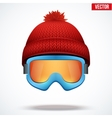 Knitted woolen red cap with snow goggles winter vector
