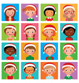 Icon set portraits of boys and girls in the santa vector