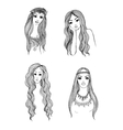 Set of hand drawn girl sketches vector