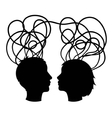 Abstract silhouette of couple heads think concept vector