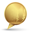 Gold speech circle with texture embroidery vector
