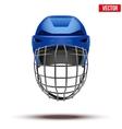Classic blue goalkeeper ice hockey helmet isolated vector