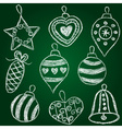 Christmas decorations - chalk on schoolboard vector
