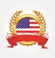 Gold award with american flag vector