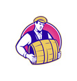 Bartender carrying beer keg retro vector