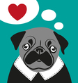 Pug love card hipster funny valentines birthday vector