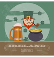 Ireland landmarks retro styled image vector