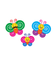 Smile happy colorful butterfly family on the white vector