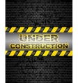 Under construction black metallic background vector