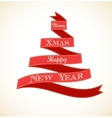 Christmas vintage greeting card with tree and vector