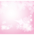 Background with pink flowers and butterfies vector