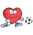 Red heart soccer player chasing a ball vector